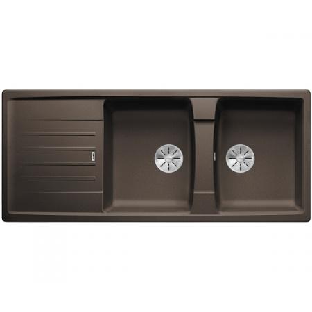 Blanco Lexa 8 S Silgranit PuraDur Zlewozmywak granitowy dwukomorowy 116x50 cm z korkiem InFino kawowy 524989