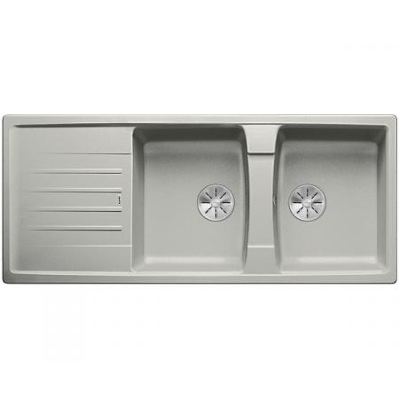 Blanco Lexa 8 S Silgranit PuraDur Zlewozmywak granitowy dwukomorowy 116x50 cm z korkiem InFino perłowoszary 524983