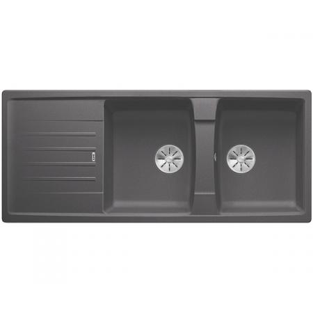 Blanco Lexa 8 S Silgranit PuraDur Zlewozmywak granitowy dwukomorowy 116x50 cm z korkiem InFino szarość skały 524981