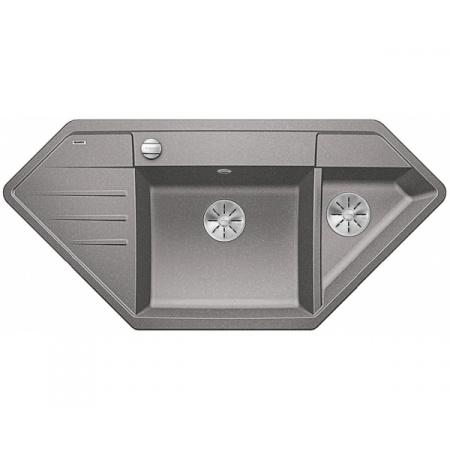 Blanco Lexa 9 E Silgranit PuraDur Zlewozmywak granitowy półtorakomorowy 107x51 cm z korkiem automatycznym InFino alumetalik 524992