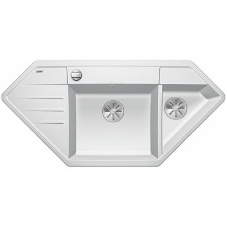 Blanco Lexa 9 E Silgranit PuraDur Zlewozmywak granitowy półtorakomorowy 107x51 cm z korkiem automatycznym InFino biały 524994