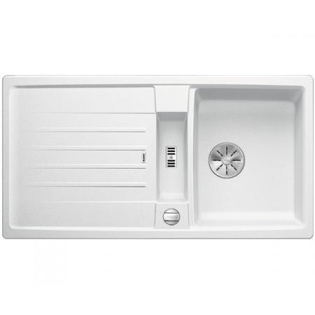 Blanco Lexa 5 S Silgranit PuraDur Zlewozmywak granitowy jednokomorowy 95x50 cm z korkiem automatycznym InFino biały 524924