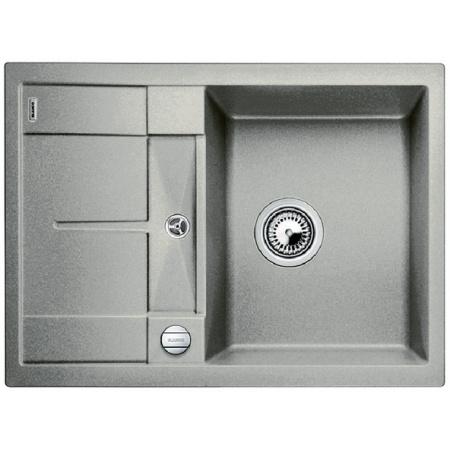 Blanco Metra 45 S Compact Zlewozmywak granitowy Silgranit PuraDur jednokomorowy 68x50 cm z ociekaczem, z korkiem automatycznym, perłowoszary 520570