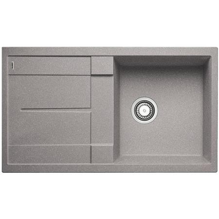 Blanco Metra 5 S Zlewozmywak granitowy Silgranit PuraDur jednokomorowy 86x50 cm z ociekaczem, bez korka automatycznego, alumetalik 513204