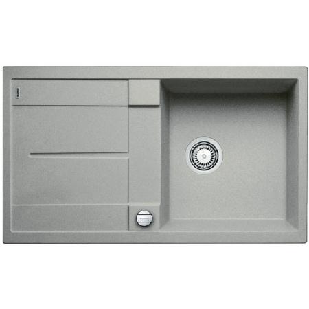 Blanco Metra 5 S Zlewozmywak granitowy Silgranit PuraDur jednokomorowy 86x50 cm z ociekaczem, z korkiem automatycznym, perłowoszary 520571