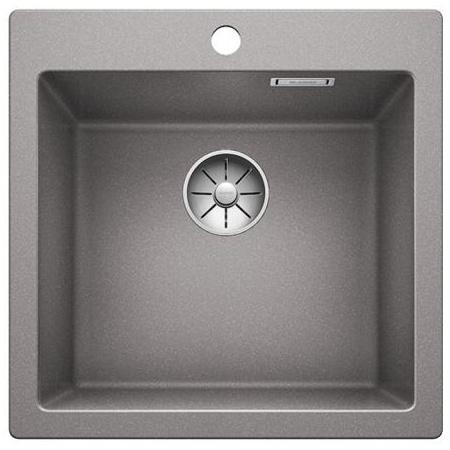 Blanco Pleon 5 Zlewozmywak granitowy Silgranit PuraDur jednokomorowy 51,5x51 cm bez korka automatycznego, alumetalik 521670