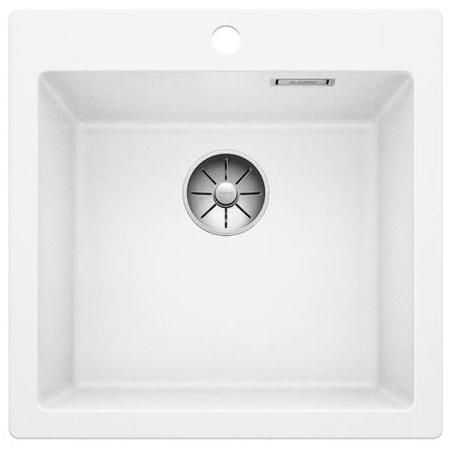 Blanco Pleon 5 Zlewozmywak granitowy Silgranit PuraDur jednokomorowy 51,5x51 cm bez korka automatycznego, biały 521672
