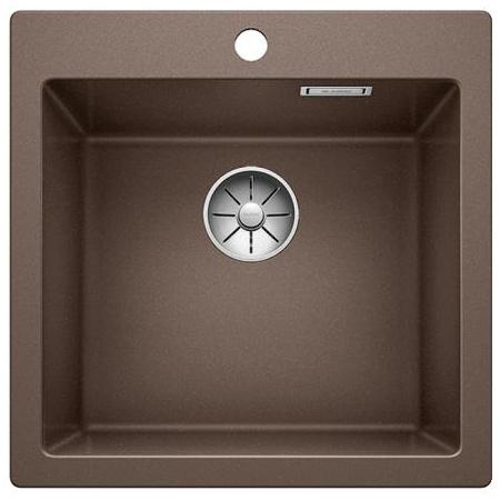 Blanco Pleon 5 Zlewozmywak granitowy Silgranit PuraDur jednokomorowy 51,5x51 cm bez korka automatycznego, kawowy 521677