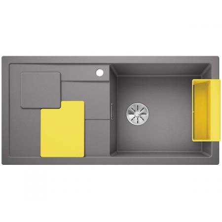 Blanco Sity XL 6 S Silgranit PuraDur Zlewozmywak granitowy jednokomorowy 100x50 cm prawy z korkiem InFino żółty lemon alumetalik 525054