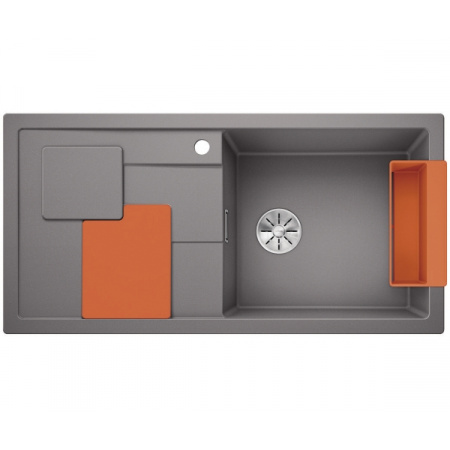 Blanco Sity XL 6 S Silgranit PuraDur Zlewozmywak granitowy jednokomorowy 100x50 cm prawy z korkiem InFino pomarańczowy orange alumetalik 525058