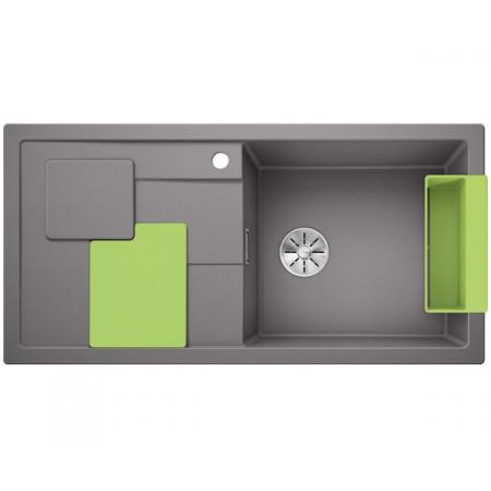 Blanco Sity XL 6 S Silgranit PuraDur Zlewozmywak granitowy jednokomorowy 100x50 cm prawy z korkiem InFino zielony kiwi alumetalik 525062