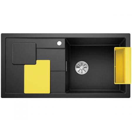Blanco Sity XL 6 S Silgranit PuraDur Zlewozmywak granitowy jednokomorowy 100x50 cm prawy z korkiem InFino żółty lemon antracyt 525052