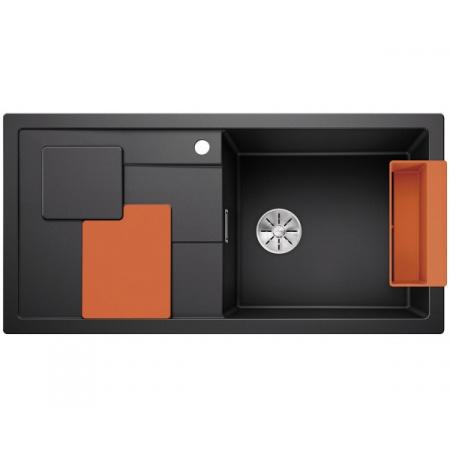 Blanco Sity XL 6 S Silgranit PuraDur Zlewozmywak granitowy jednokomorowy 100x50 cm prawy z korkiem InFino pomarańczowy orange antracyt 525056