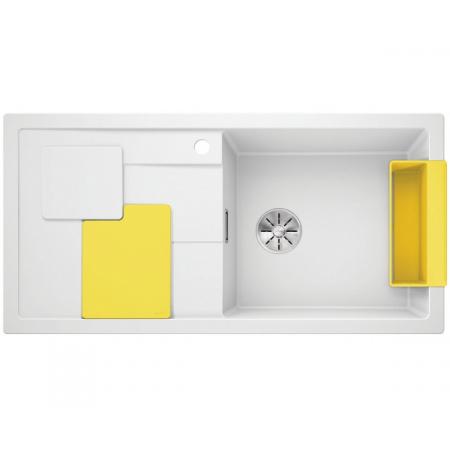 Blanco Sity XL 6 S Silgranit PuraDur Zlewozmywak granitowy jednokomorowy 100x50 cm prawy z korkiem InFino lemon żółty biały 525055