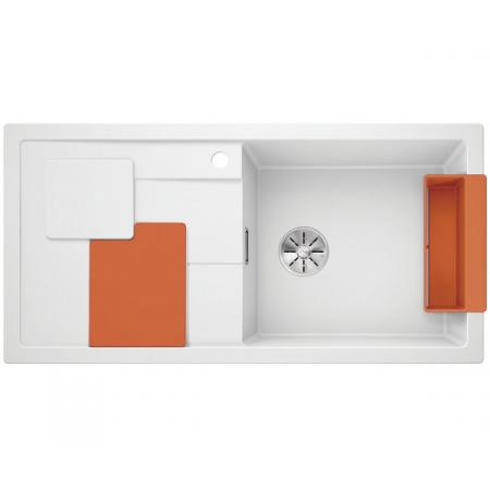 Blanco Sity XL 6 S Silgranit PuraDur Zlewozmywak granitowy jednokomorowy 100x50 cm prawy z korkiem InFino pomarańczowy orange biały 525059
