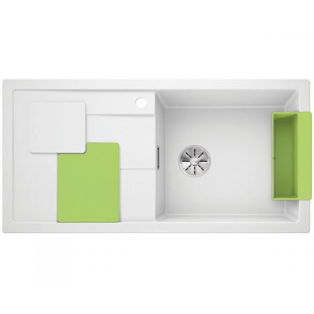 Blanco Sity XL 6 S Silgranit PuraDur Zlewozmywak granitowy jednokomorowy 100x50 cm prawy z korkiem InFino kiwi zielony biały 525063