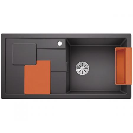 Blanco Sity XL 6 S Silgranit PuraDur Zlewozmywak granitowy jednokomorowy 100x50 cm prawy z korkiem InFino pomarańczowy orange szarość skały 525057