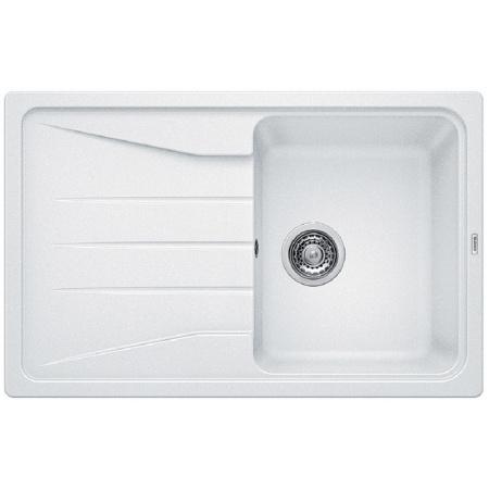 Blanco Sona 45 S Zlewozmywak granitowy Silgranit PuraDur jednokomorowy 78x50 cm z ociekaczem, bez korka automatycznego, biały 519665