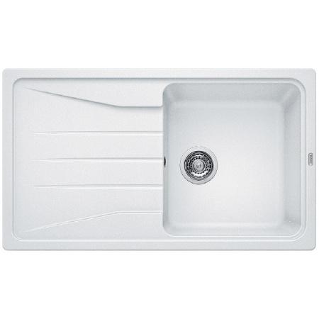 Blanco Sona 5 S Zlewozmywak granitowy Silgranit PuraDur jednokomorowy 86x50 cm z ociekaczem, bez korka automatycznego, biały 519674
