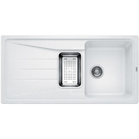 Blanco Sona 6 S Zlewozmywak granitowy Silgranit PuraDur półtorakomorowy 100x50 cm z ociekaczem, bez korka automatycznego, biały 519683