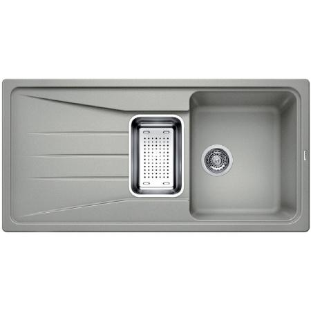 Blanco Sona 6 S Zlewozmywak granitowy Silgranit PuraDur półtorakomorowy 100x50 cm z ociekaczem, bez korka automatycznego, perłowoszary 519686