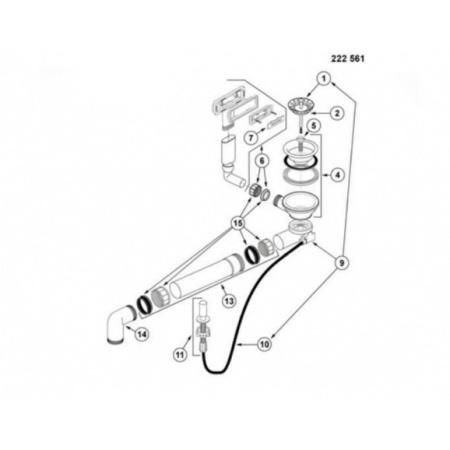 Blanco Sublime Armatura odpływowo-przelewowa z korkiem automatycznym, 222561