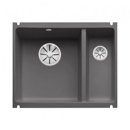 Blanco Subline 350/150-U Zlewozmywak ceramiczny 1,5-komorowy 56,7x45,6 cm bez ociekacza, bazaltowy 523746