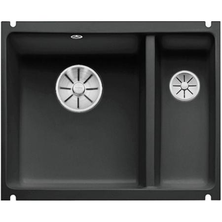 Blanco Subline 350/150-U Zlewozmywak ceramiczny 1,5-komorowy 56,7x45,6 cm bez ociekacza, czarny 523747