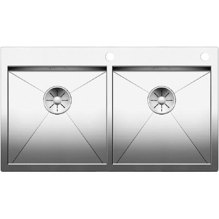 Blanco Zerox 400/400-IF/A Zlewozmywak stalowy dwukomorowy 88,5x51 cm z korkiem automatycznym, stalowy 521648