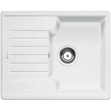 Blanco Zia 40 S Zlewozmywak granitowy Silgranit PuraDur jednokomorowy 61,5x50 cm z ociekaczem, bez korka automatycznego, biały 516922