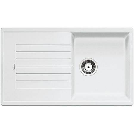 Blanco Zia 5 S Zlewozmywak granitowy Silgranit PuraDur jednokomorowy 86x50 cm z ociekaczem, bez korka automatycznego, biały 520515