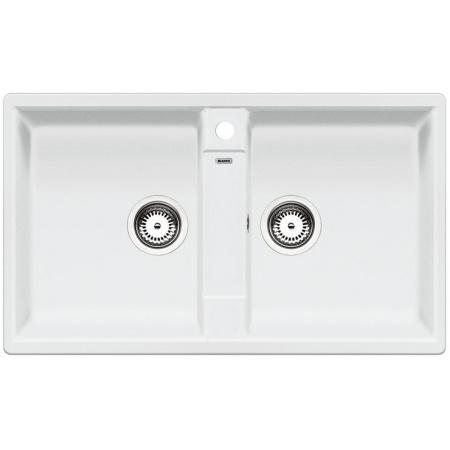 Blanco Zia 9 Zlewozmywak granitowy Silgranit PuraDur dwukomorowy 86x50 cm bez korka automatycznego, biały 516678