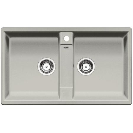 Blanco Zia 9 Zlewozmywak granitowy Silgranit PuraDur dwukomorowy 86x50 cm bez korka automatycznego, perłowoszary 520640