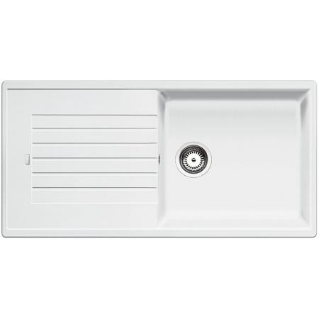 Blanco Zia XL 6 S Zlewozmywak granitowy Silgranit PuraDur jednokomorowy 100x50 cm z ociekaczem, bez korka automatycznego, biały 517571