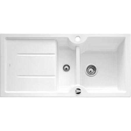 Blanco Idessa 6 S Zlewozmywak ceramiczny półtorakomorowy 100x50 cm z ociekaczem, z korkiem automatycznym, biały z połyskiem 516000