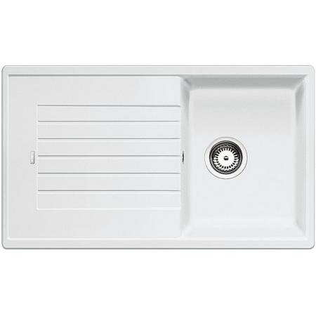 Blanco Zia 45 SL Zlewozmywak granitowy Silgranit PuraDur jednokomorowy 86x50 cm z ociekaczem, bez korka automatycznego, biały 516740