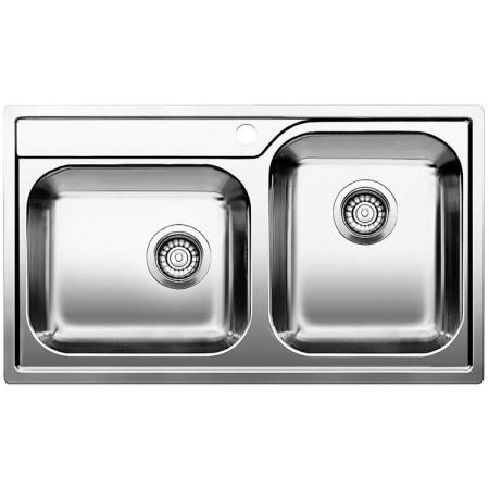 Blanco Median 9-IF Zlewozmywak stalowy dwukomorowy 86x50 cm bez korka automatycznego, stal szczotkowana 518457