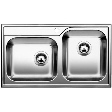 Blanco Median 9 Zlewozmywak stalowy dwukomorowy 86x50 cm bez korka automatycznego, stal szczotkowana 512658