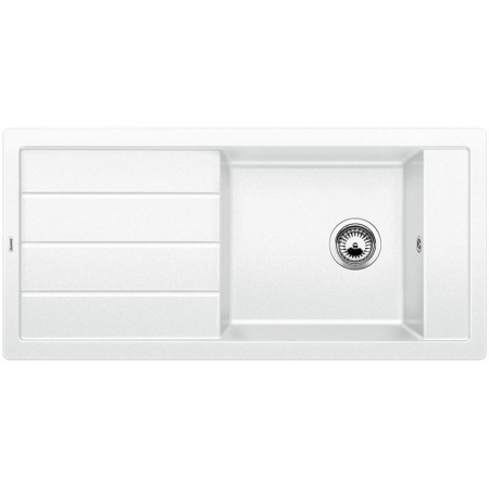 Blanco Mevit XL 6 S Zlewozmywak granitowy Silgranit PuraDur jednokomorowy 100x48 cm z ociekaczem, bez korka automatycznego, biały 518357