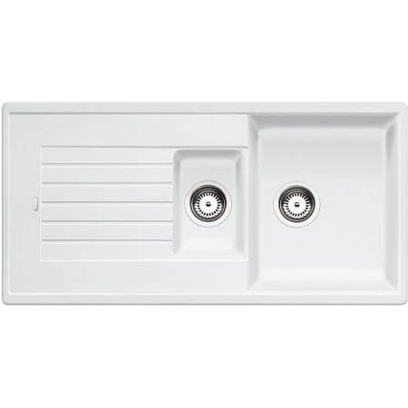Blanco Zia 6 S Zlewozmywak granitowy Silgranit PuraDur półtorakomorowy 100x50 cm z ociekaczem, bez korka automatycznego, biały 514742