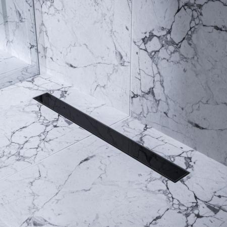 Bravat Black Glass Steel Drain Odpływ liniowy 80 cm z metalowym syfonem czarne szkło BLACKGLASSSTEELDRAIN80
