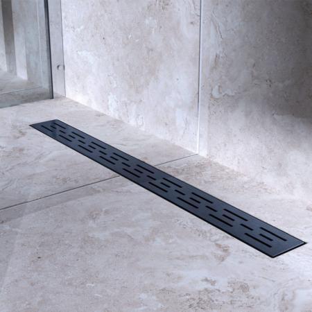 Bravat Black Matt Line Steel Drain Odpływ liniowy 80 cm z metalowym syfonem czarny mat BLACKMATTLINESTEELDRAIN80