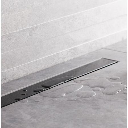 Bravat Seamless Black Glass Drain Odpływ liniowy 65 cm z plastikowym syfonem czarny polerowany SEAMLESSBLACKGLASSDRAIN65
