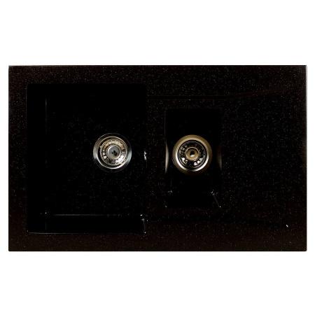 Brenor Taurus Zlewozmywak granitowy 1,5-komorowy 79x49,5 cm z ociekaczem, czarny metalik BRENORTAURUS08M