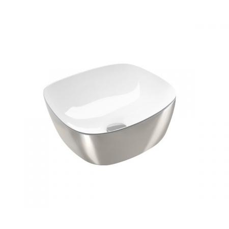 Catalano Green Lux Umywalka nablatowa 40x40 cm z powłoką biała/srebrna 140APGRLXBA