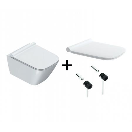 Catalano Green Zestaw Toaleta WC podwieszana 50x37 cm Newflush bez kołnierza z deską wolnoopadającą i mocowaniami biała 1VS50RGR00+5GR55STP00+5KFST00