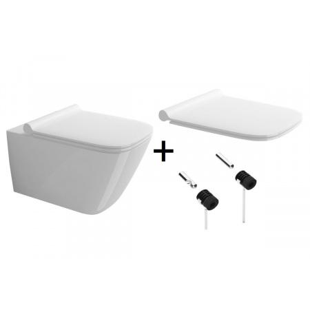 Catalano Green Zestaw Toaleta WC podwieszana 55x37 cm Newflush bez kołnierza z deską wolnoopadającą i mocowaniem biały 1VS55RGR00+5GR55STP00+5KFST00