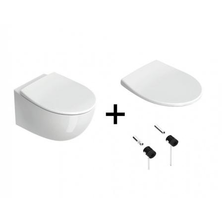Catalano Italy Zestaw Toaleta WC 52x37 cm bez kołnierza + deska wolnoopadająca + mocowania biały 1VS52RIT00+5ITSTF00+5KFST00