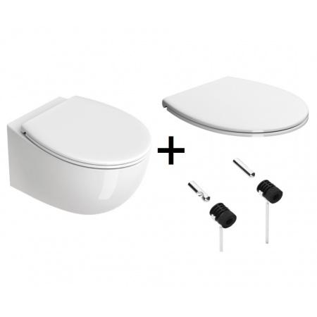 Catalano Italy Zestaw Toaleta WC 52x37 cm bez kołnierza + deska wolnoopadająca + mocowania biały 1VS52RIT00+5NLV5STF00+5KFST00