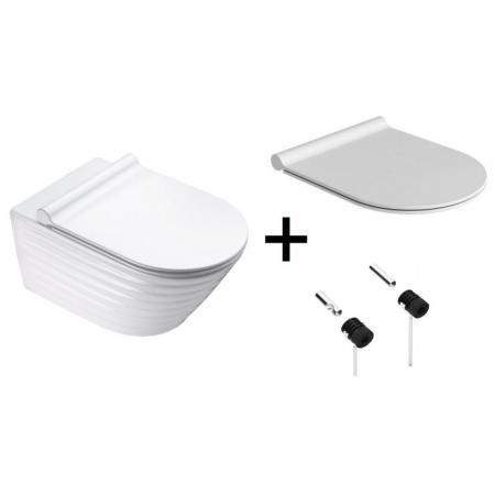 Catalano New Zero Classy Zestaw Toaleta WC podwieszana 55x35 cm bez kołnierza + deska wolnoopadająca + mocowania biała 1VS55RZE00+5SCSTP000+5KFST00